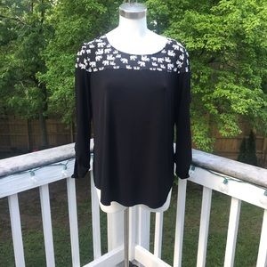 NY Collection Black and White Elephant Blouse
